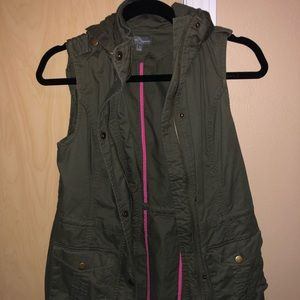 Deep Olive Green Vest with Hood